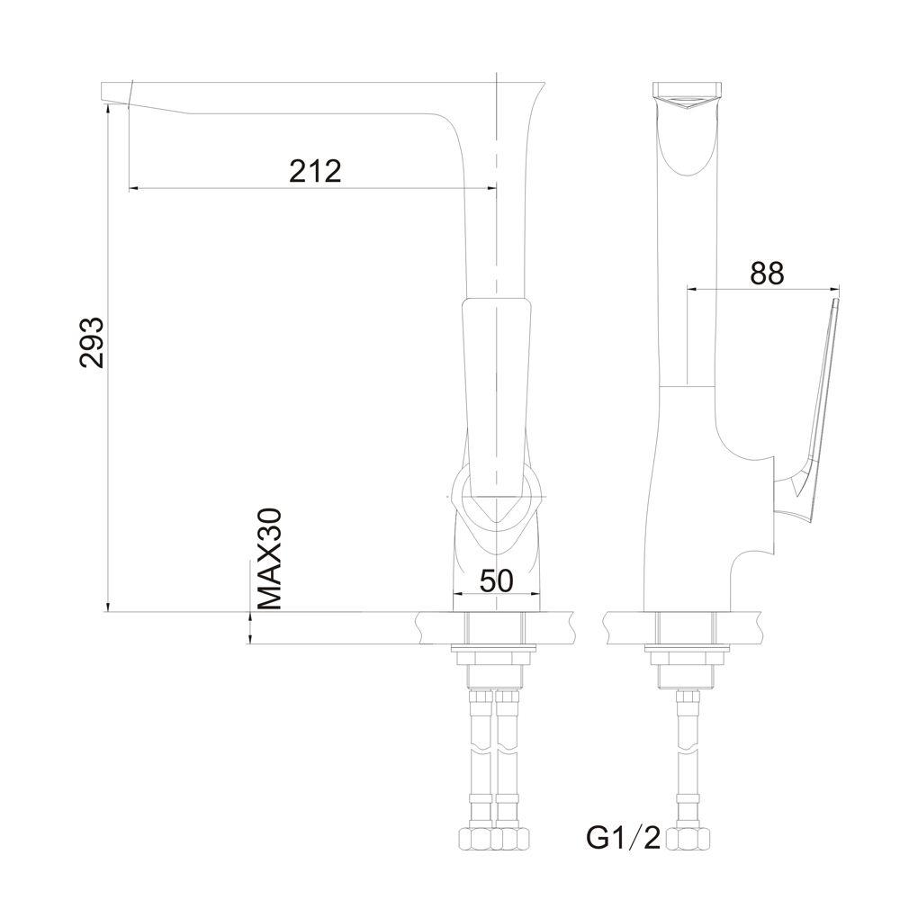 Misturador Monocomando para Lavatório de Mesa Bica Móvel Jiwi WJ-2261-224A