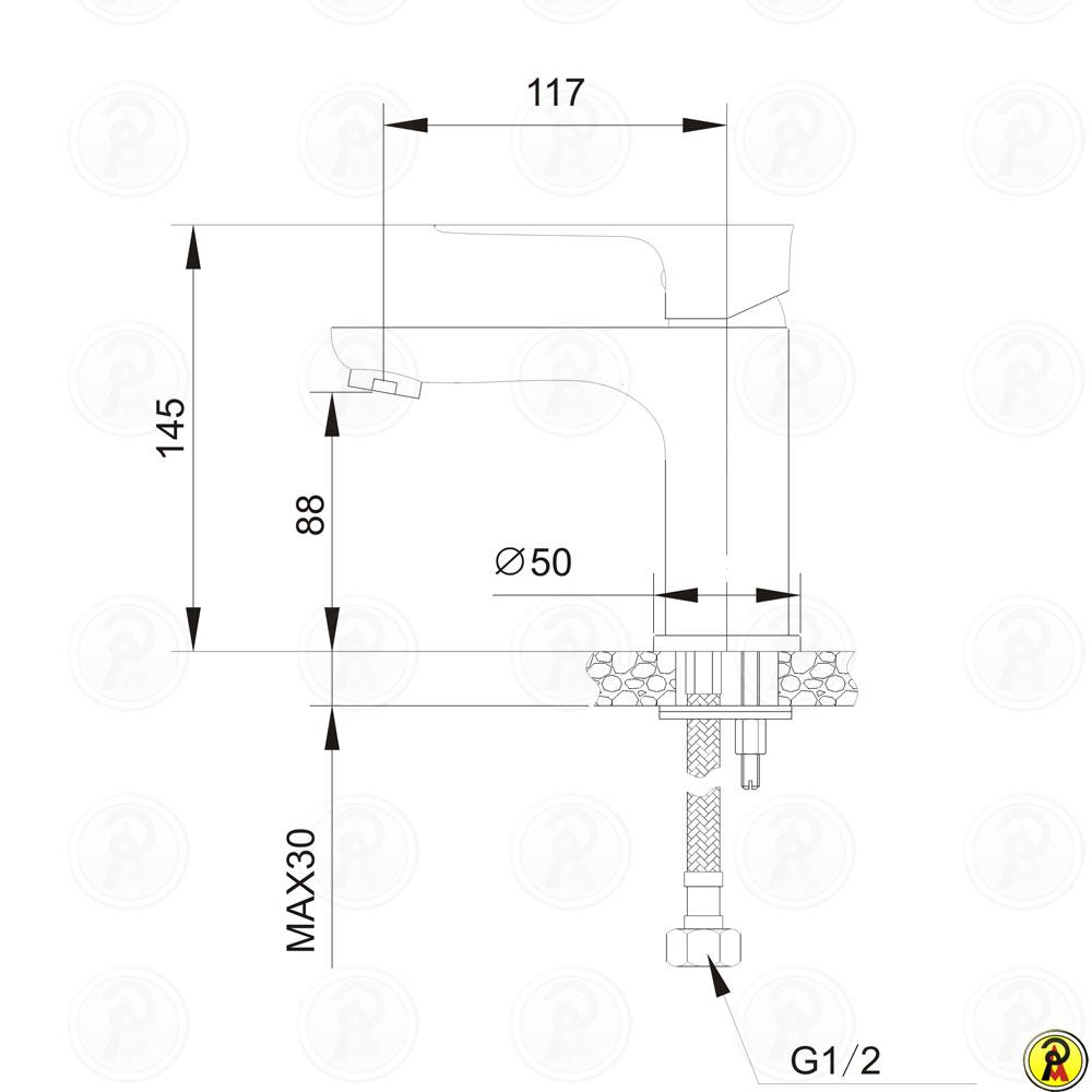 Misturador monocomando para lavatório de mesa Jiwi WJ-1721-236H