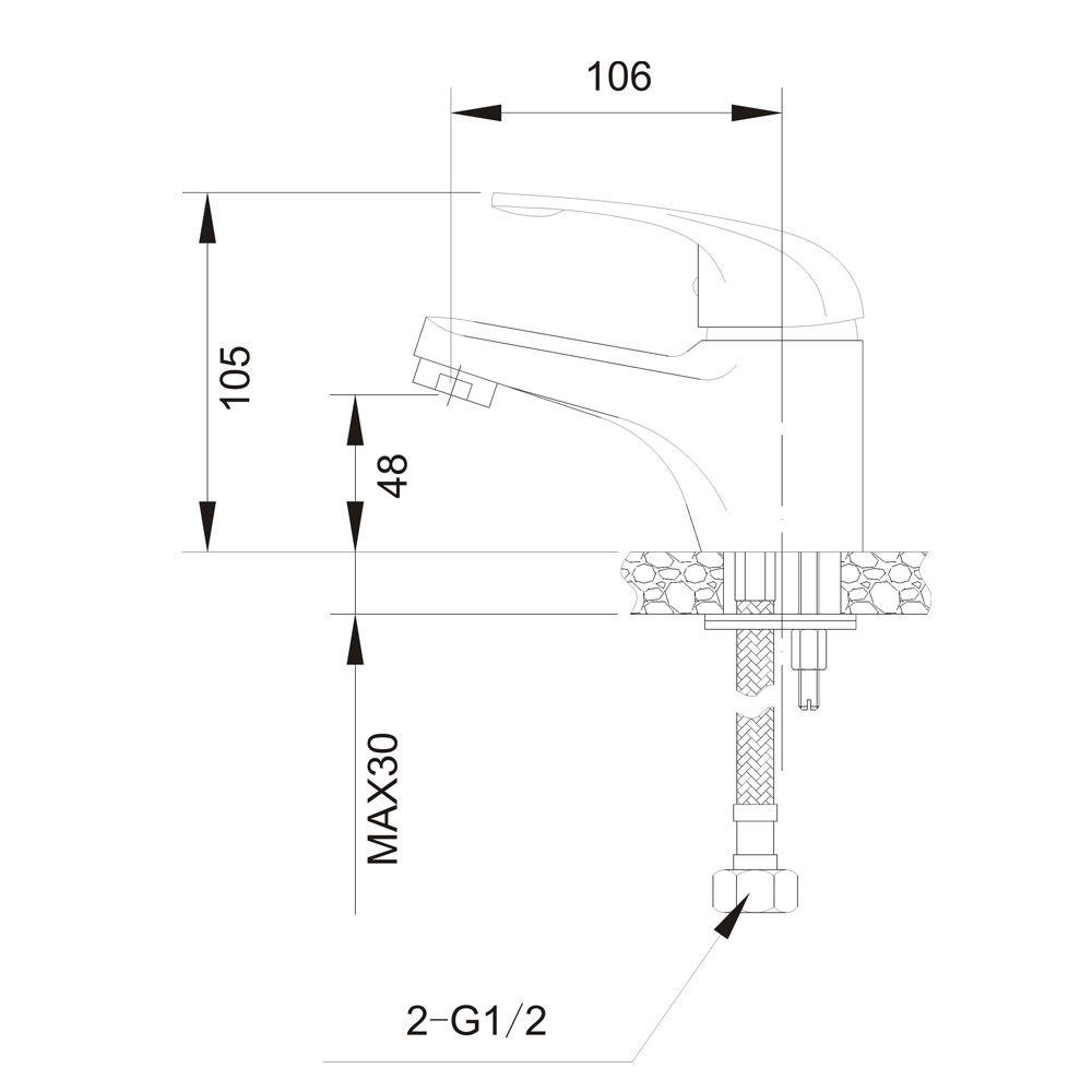 Misturador Monocomando para Lavatório de Mesa Jiwi WJ-1821-220A