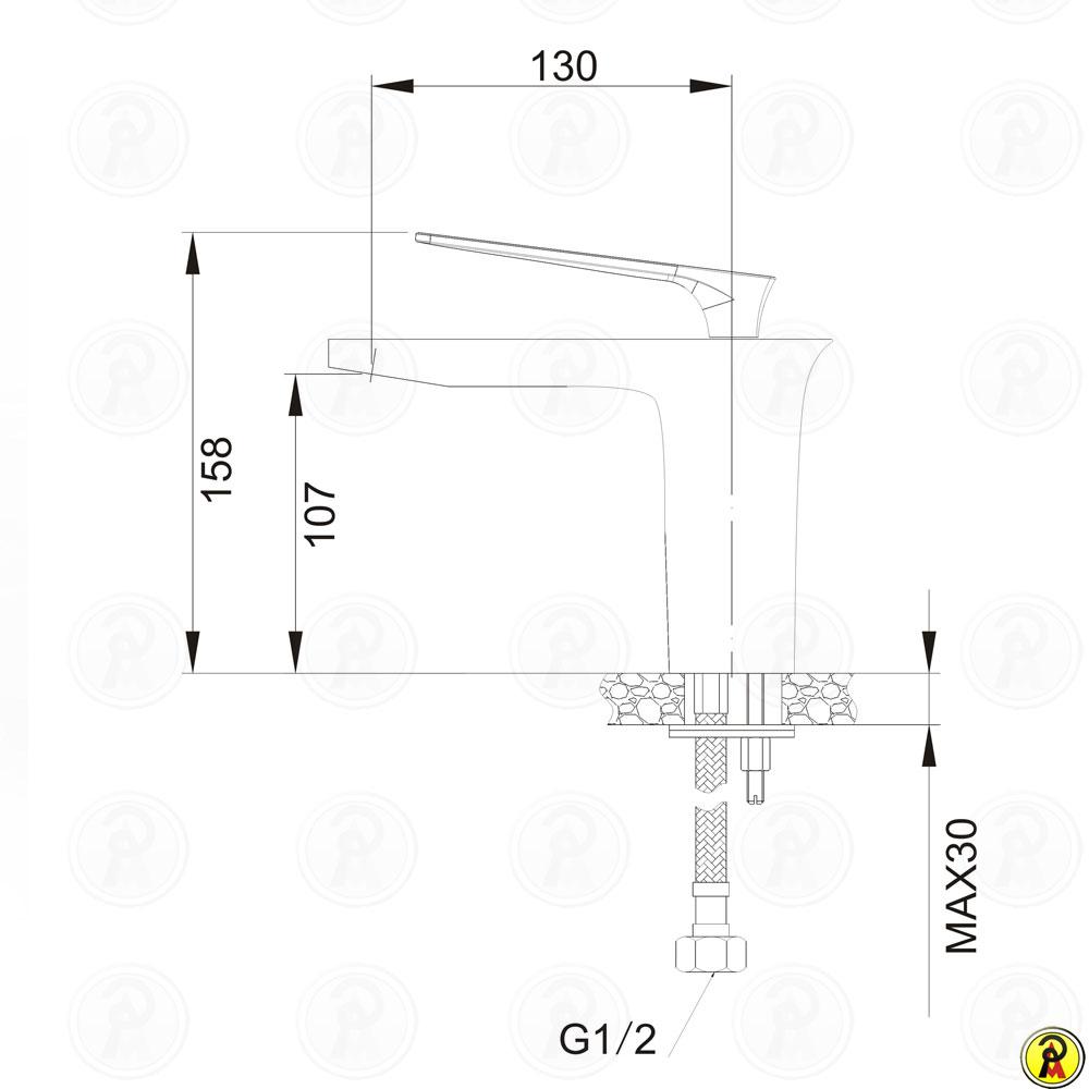 Misturador Monocomando para Lavatório de Mesa Jiwi WJ-2221-224A