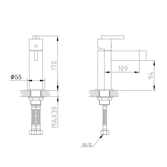 Misturador Monocomando para Lavatório Jiwi WJ-1321-211A