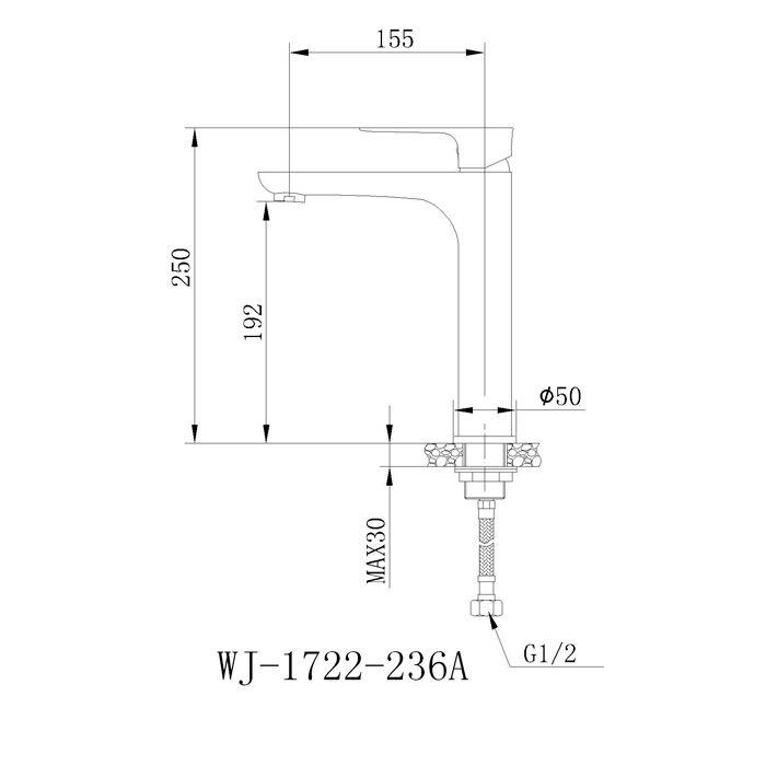 Misturador monocomando para lavatório Jiwi WJ-1722-236A