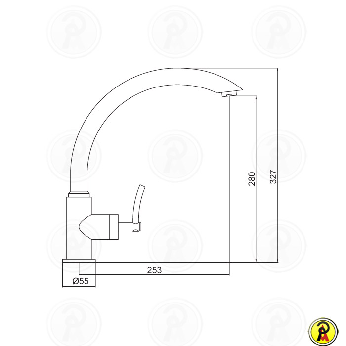 (Sob Consulta) Misturador Monomix para Cozinha de Mesa Bica Alta Móvel LorenRound 4253 C60