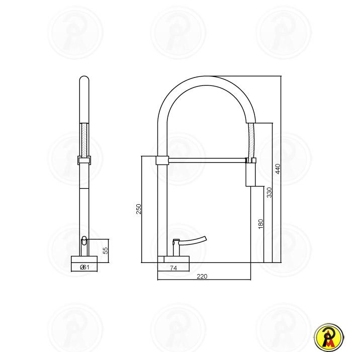 (Sob Consulta) Misturador Monomix para Cozinha de Mesa com Ducha LorenRound 4267 C60