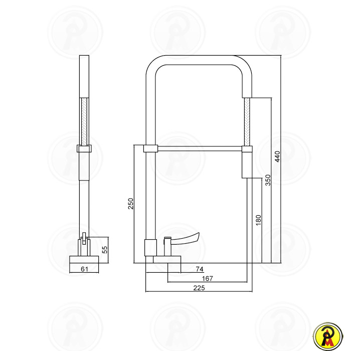 (Sob Consulta) - Misturador Monomix para Cozinha de Mesa com Ducha Lorenzetti LorenSquare 4267 C67