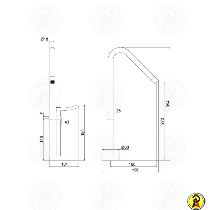 Misturador Monomix para Lavatório de Mesa Bica Alta LorenRound 4877 C60