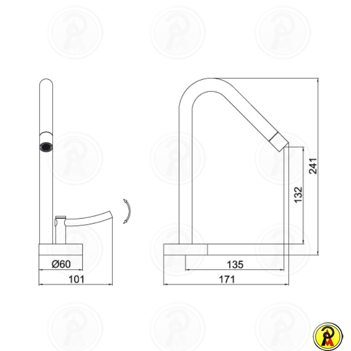 Misturador Monomix para Lavatório de Mesa Lorenzetti LorenRound 4875 C60  - Pinezi Compra Rápida