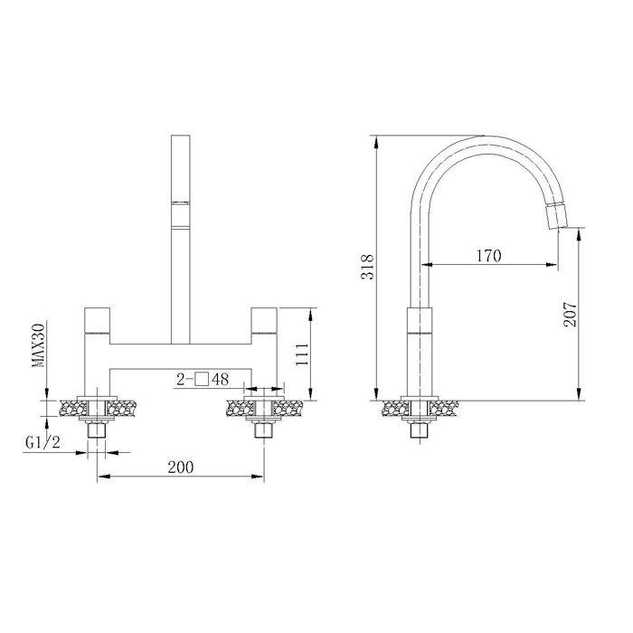 Misturador para Cozinha de Mesa Bica Móvel Jiwi WJ-1062-157A