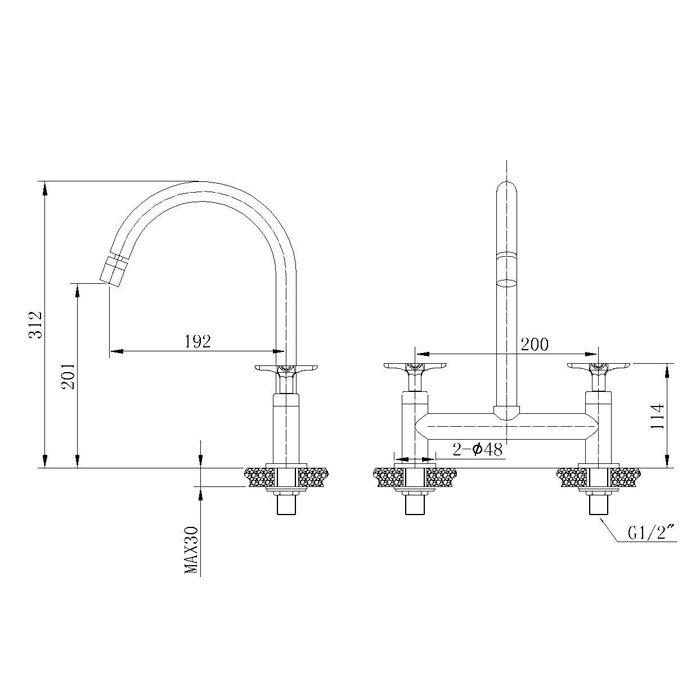 Misturador para Cozinha de Mesa Bica Móvel Jiwi WJ-1162-219A