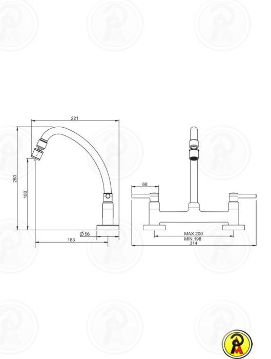 Misturador Cozinha Mesa Bica Móvel Lorenzetti LorenFit Slim 1256 C31