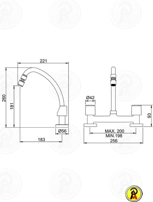 Misturador para Cozinha de Mesa Lorenzetti LorenShape 1256 C46