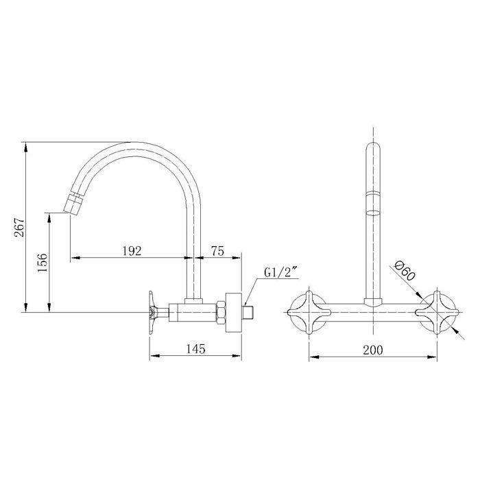 Misturador para Cozinha de Parede Bica Móvel Jiwi WJ-1163-219A