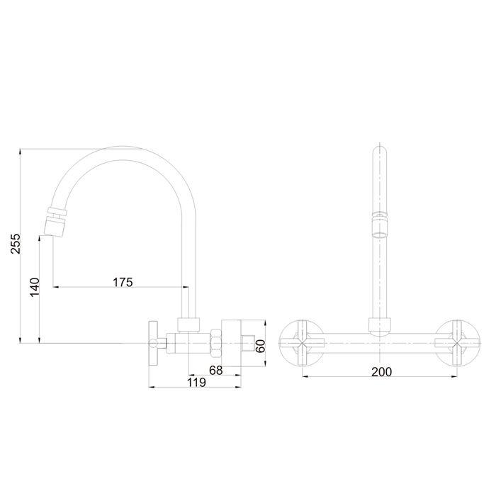 Misturador para Cozinha de Parede Bica Móvel Jiwi WJ-2063-225A