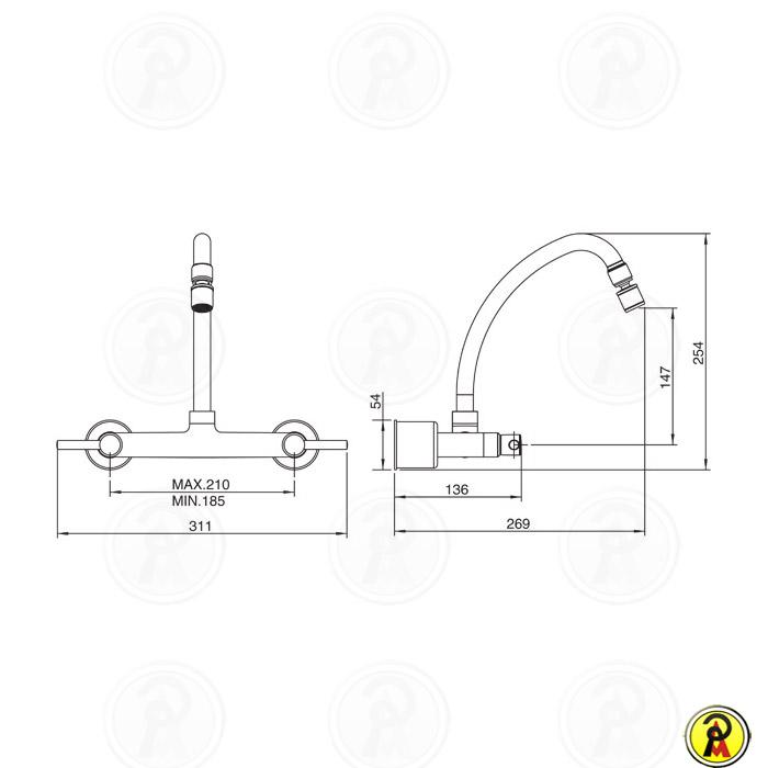 Misturador Cozinha de Parede Bica Móvel Lorenzetti LorenFit Slim 1258 C31
