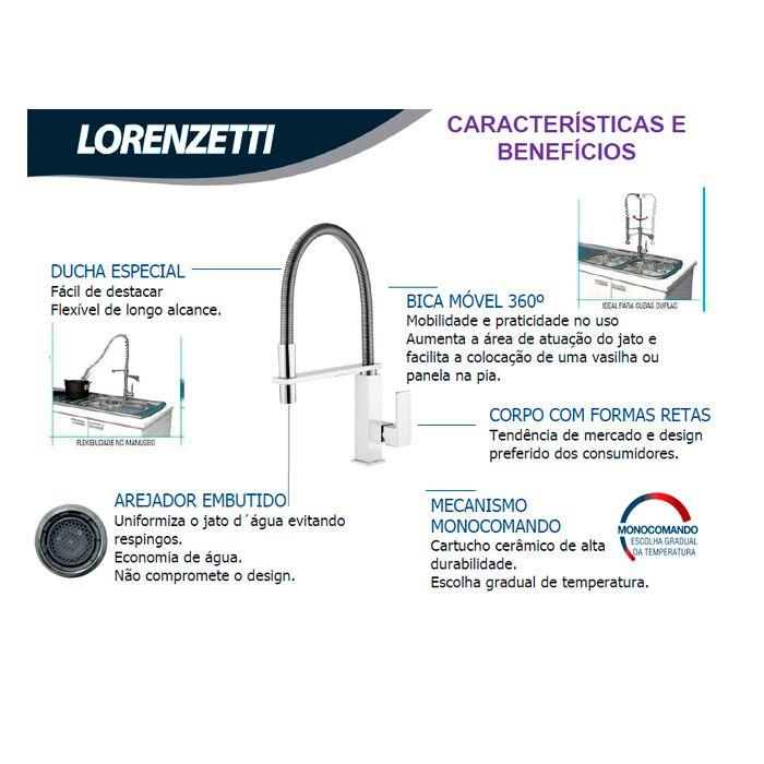 Misturador para Cozinha Monocomando Bica Móvel Lorenzetti LorenVogue 2267 C98