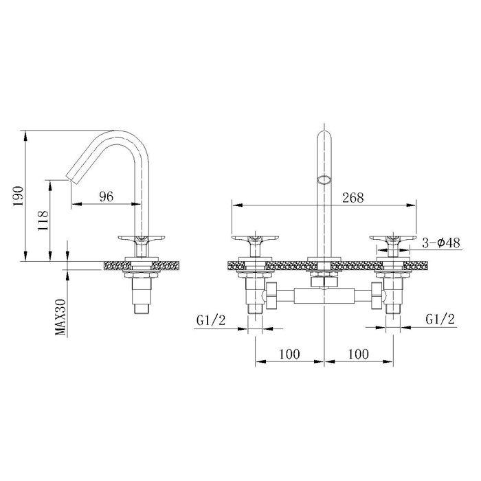 Misturador para Lavatório de Mesa Jiwi WJ-1123-219A