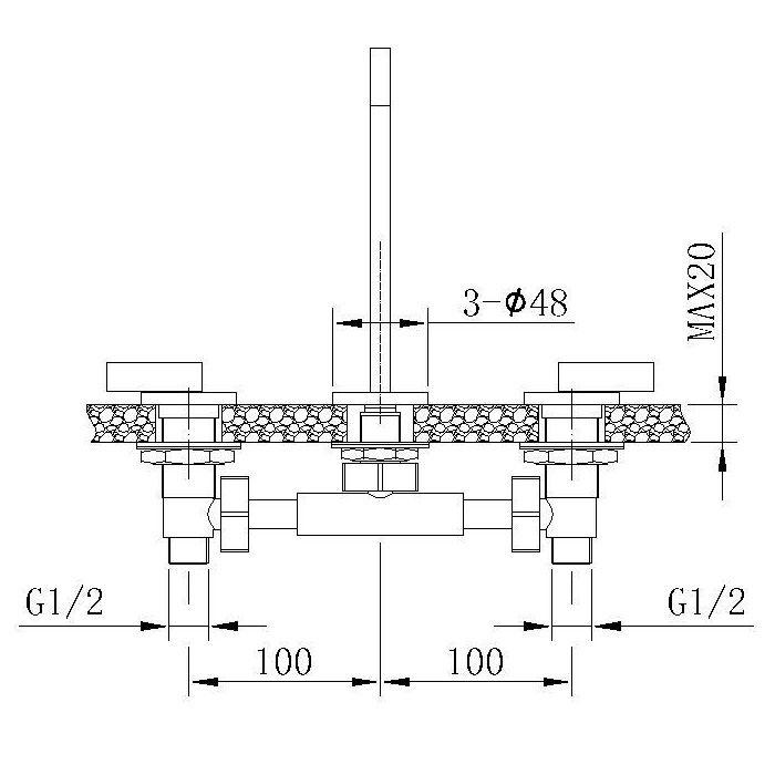 Misturador para Lavatório de Mesa Jiwi WJ-1323-190A