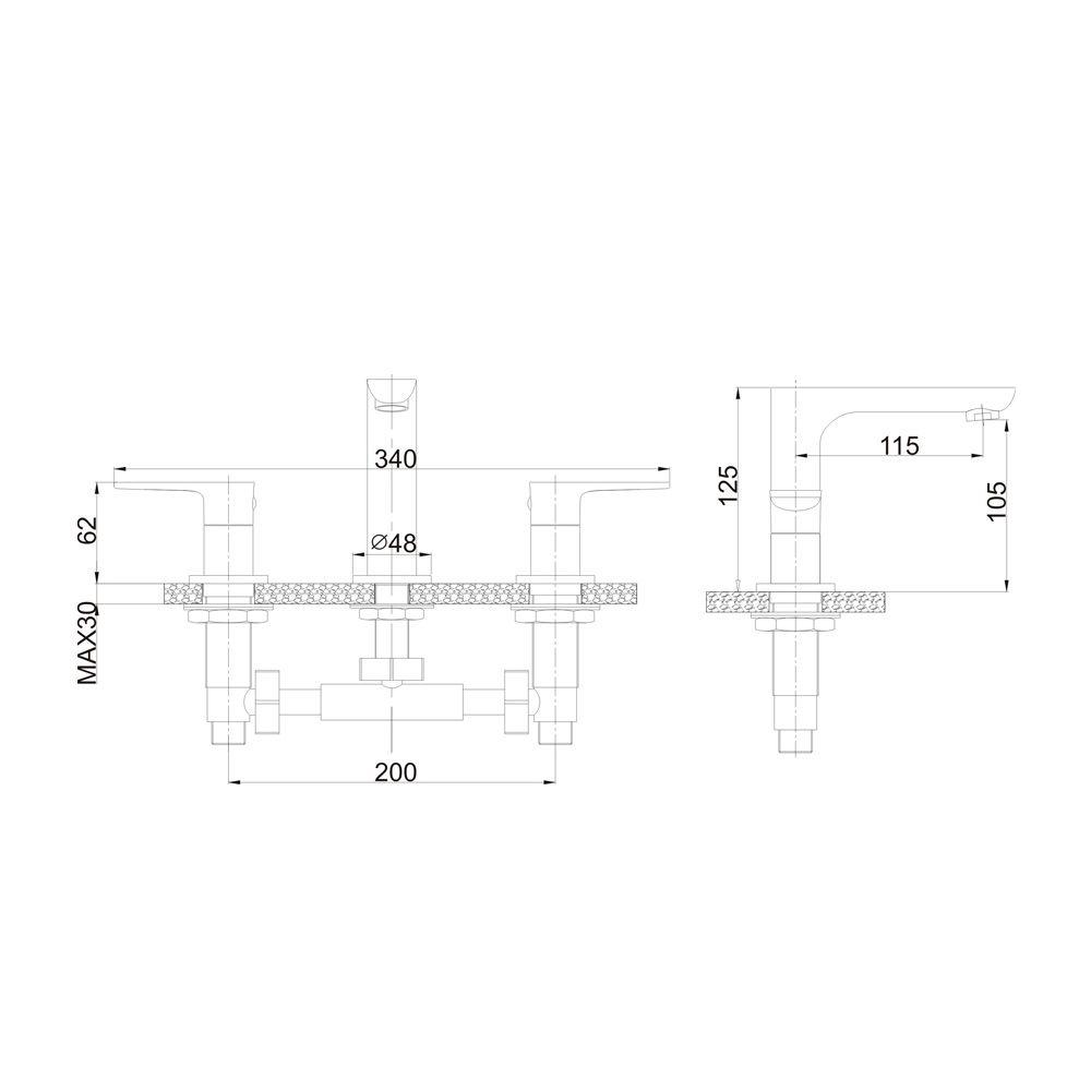 Misturador para lavatório de mesa Jiwi WJ-1723-271A