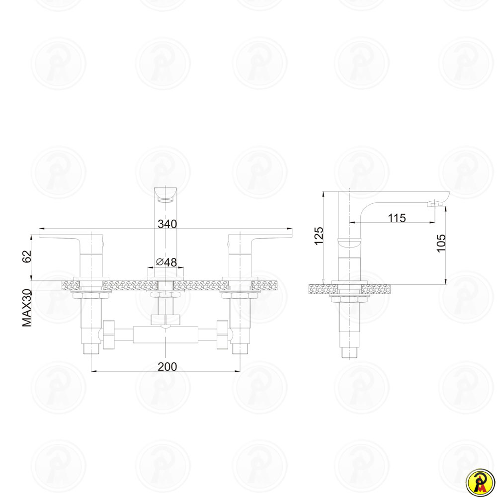 Misturador para lavatório de mesa Jiwi WJ-1723-271B