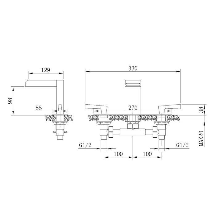 Misturador para Lavatório de Mesa Jiwi WJ-2123-207A