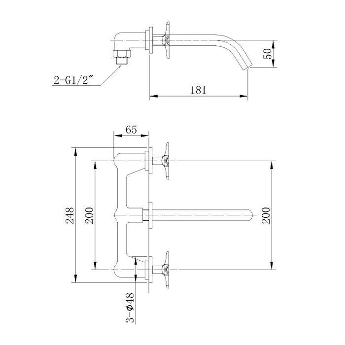 Misturador para Lavatório de Parede Jiwi WJ-1125-219A