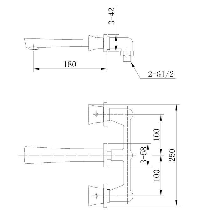 Misturador para Lavatório de Parede Jiwi WJ-1225-183A