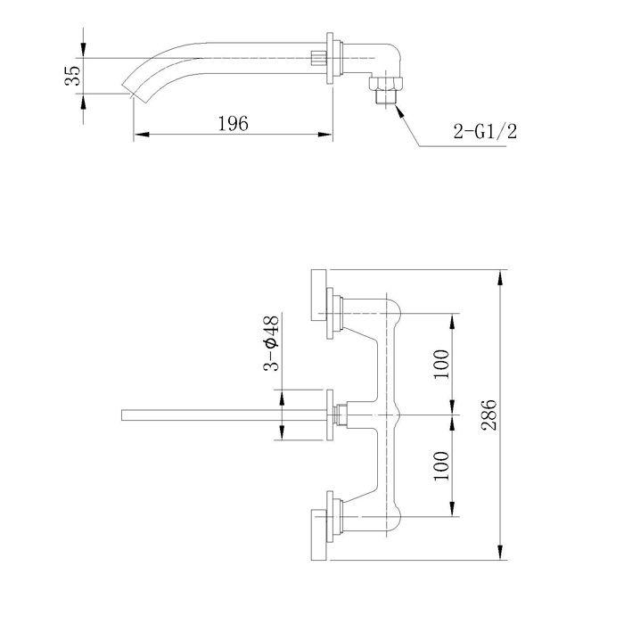 Misturador para Lavatório de Parede Jiwi WJ-1325-190A