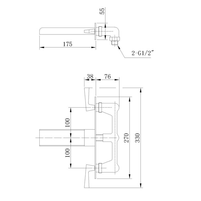 Misturador para Lavatório de Parede Jiwi WJ-2125-207A