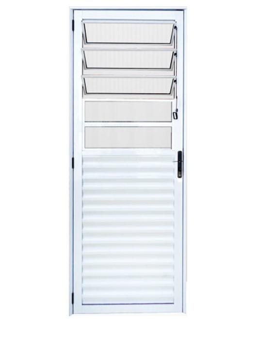 Porta de Alumínio Branco Basculante Lux Esquadrias - 70 cm Largura, Abertura Esquerda.