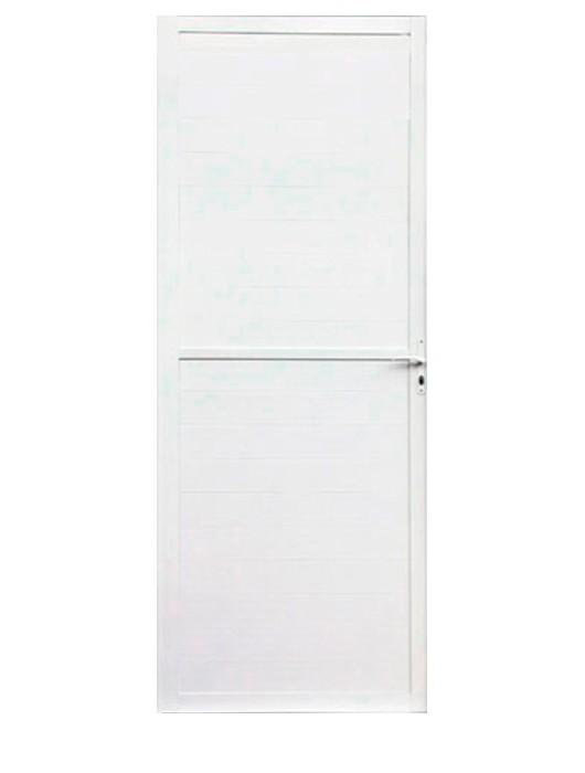 Porta de Alumínio Predial Branco Lambri Lux Esquadrias - 70 cm Largura, Abertura Direita