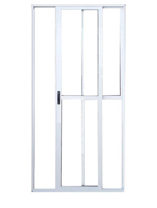 Porta de Correr com Trinco de Alumínio Branco 2 Folhas Lux Esquadrias
