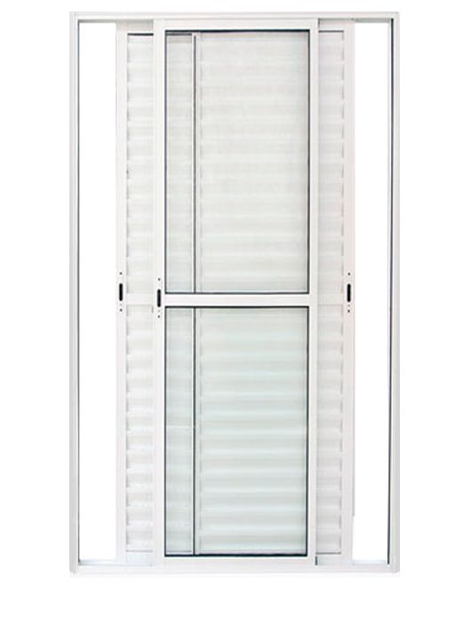 Porta de Correr Veneziana Alumínio Branco com Fechadura Predial Lux Esquadrias