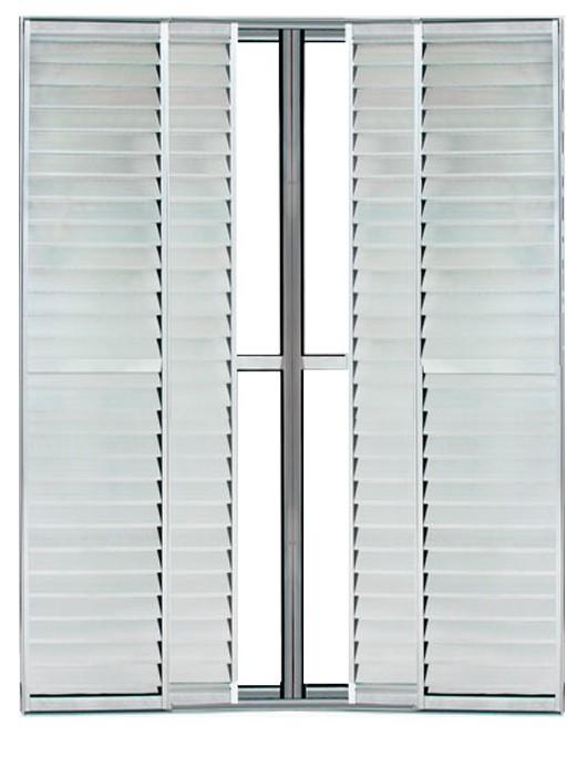 Porta de Correr Veneziana de Alumínio Brilhante 6 Folhas Lux Esquadrias