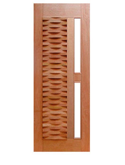 Porta de Entrada Maciça Pivotante Ripada para Vidro