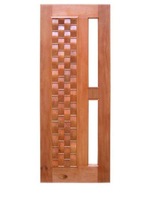 Porta Entrada Maciça Pivotante Couro para Vidro