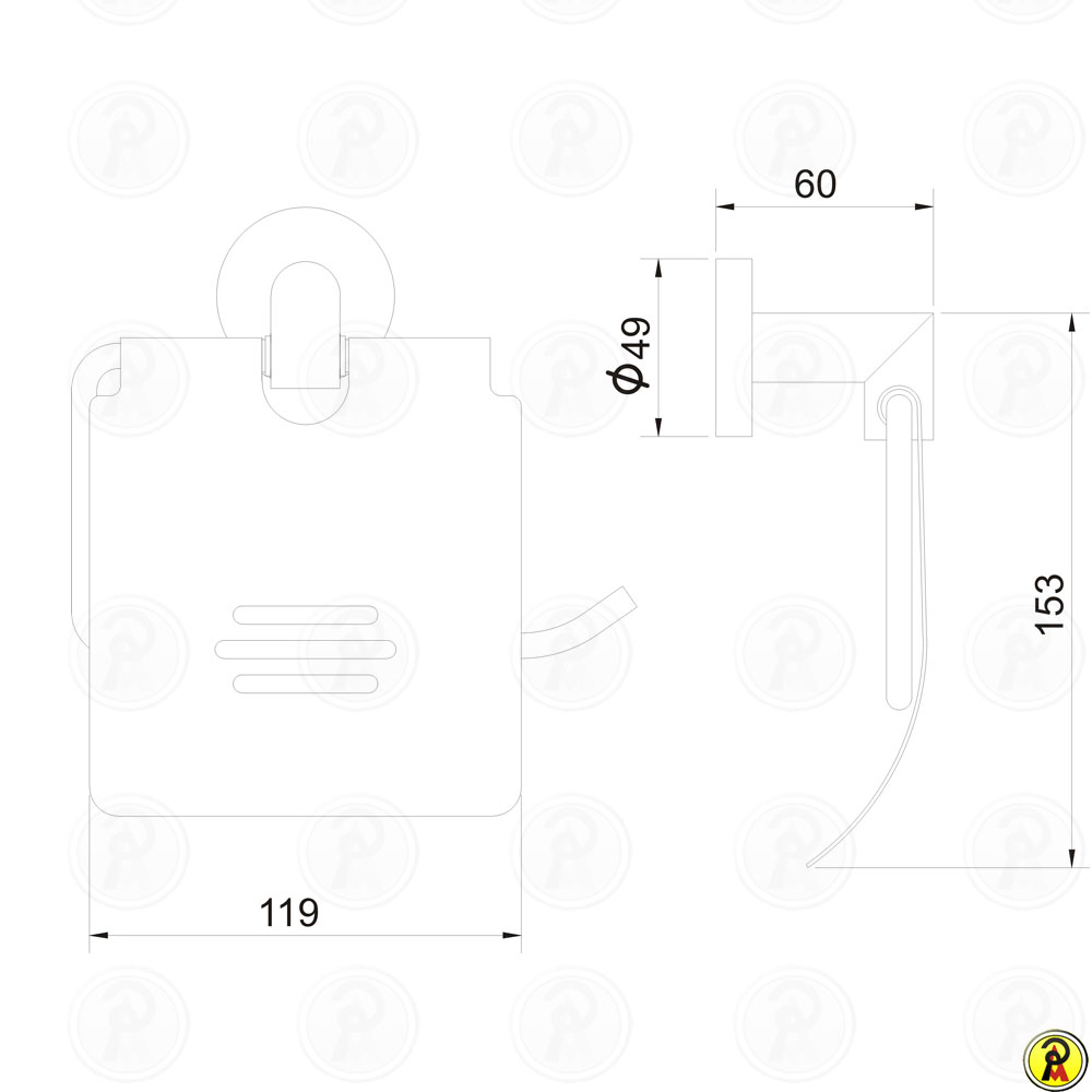 Porta Papel Higiênico com Tampa Jiwi WJ-1183