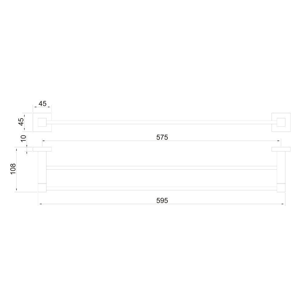 Porta Toalha Duplo 60cm Jiwi WJ-1086