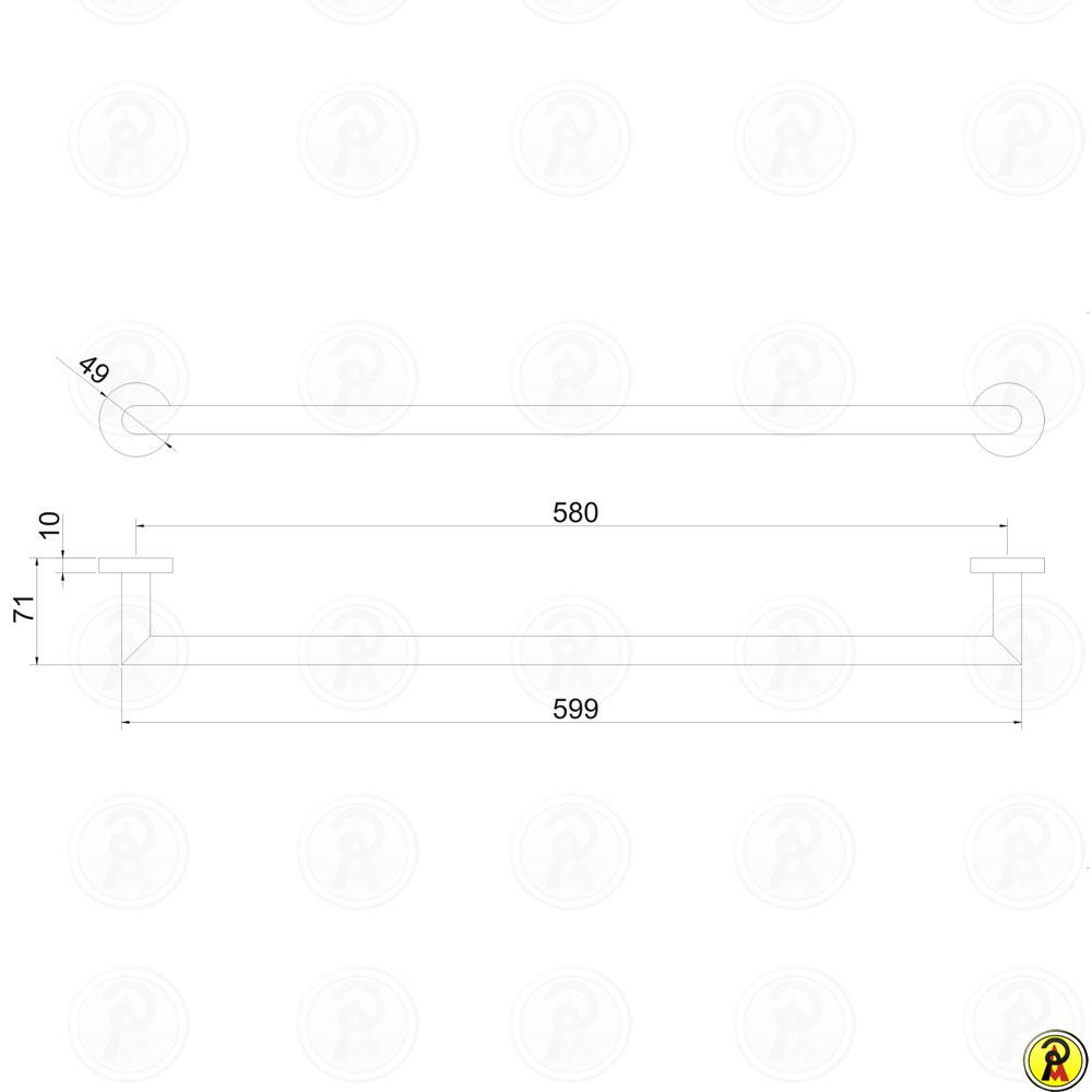 Porta Toalha Linear 60cm Jiwi WJ-1185