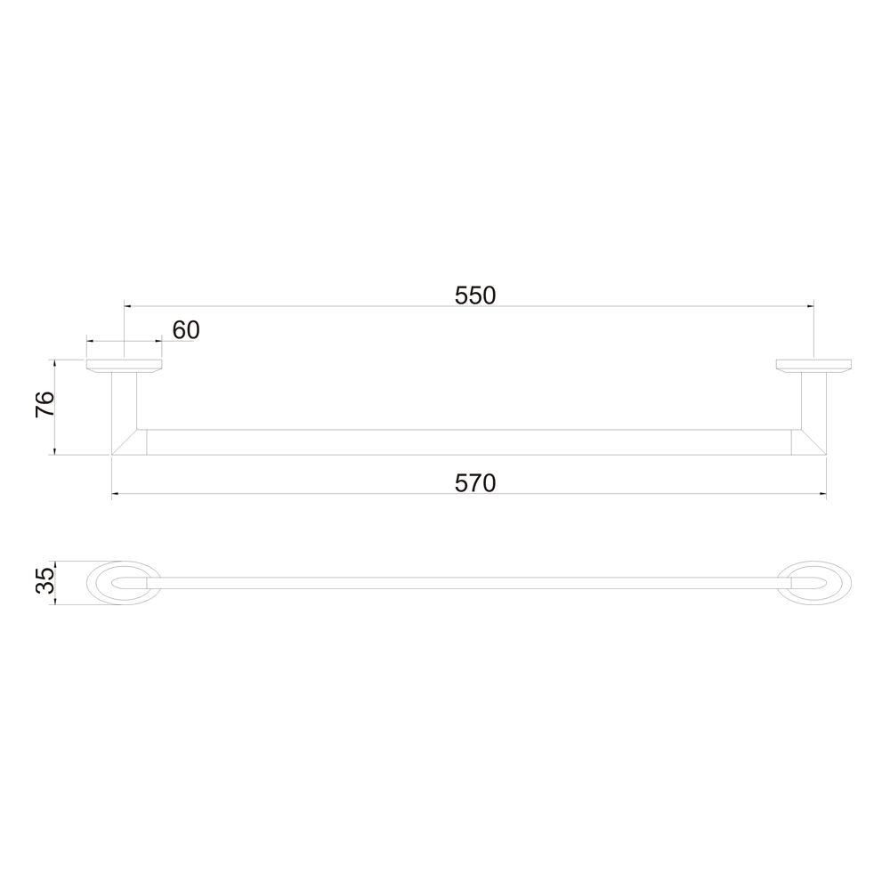 Porta Toalha Linear 60cm Jiwi WJ-1285