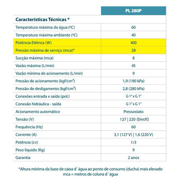 (Fora de Linha) Pressurizador Lorenzetti PL 280P 400W 28mca 220V