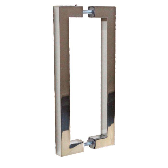 Puxador Duplo Cromado de Inox Quadrado Formato U 60 cm Camomil