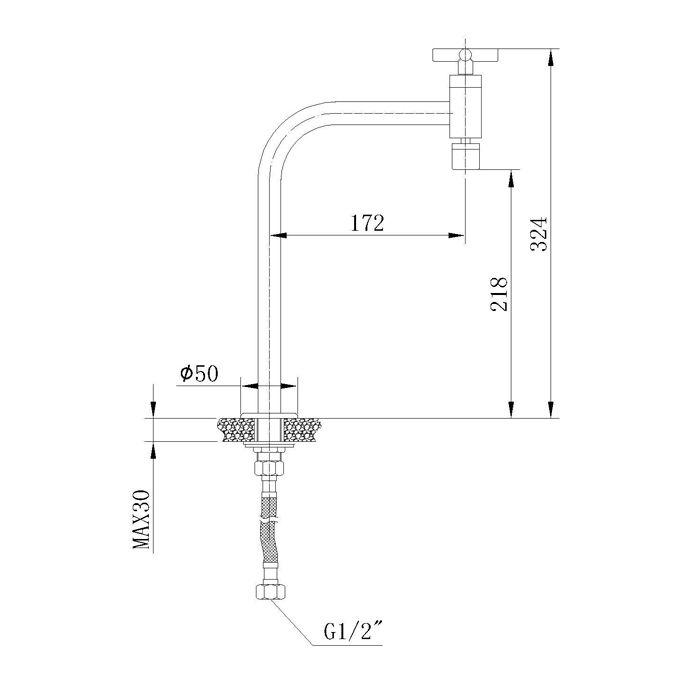 Torneira Cozinha Mesa Bica Móvel e Arejador Jiwi WJ-1918-227A