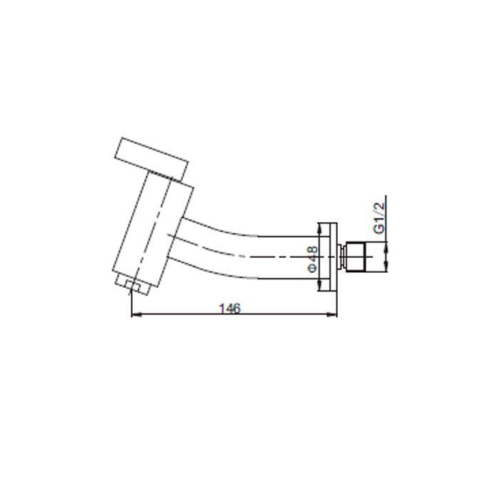 Torneira Curta para Lavatório de Parede Jiwi WJ-1314-190A