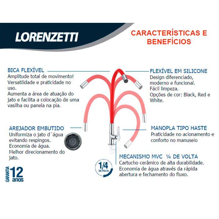 Torneira de Parede Bica Flexível Lorenzetti Lorenflex Black 1178 B27