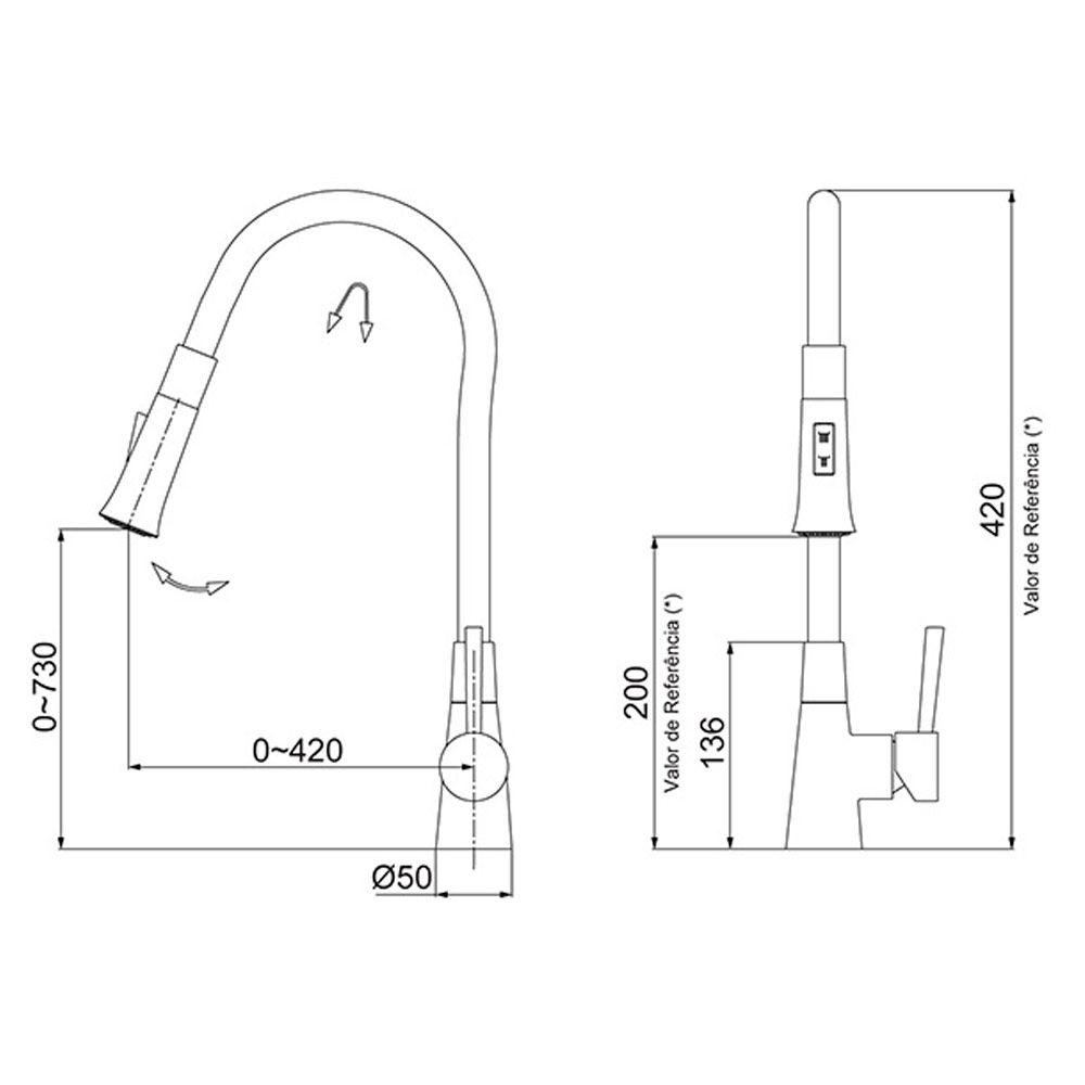 Torneira de Mesa Bica Flexível Lorenzetti Lorenflex Black 2257 B27