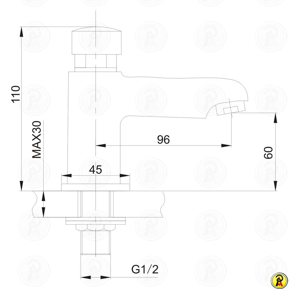 Torneira de Mesa com Fechamento Automático Jiwi WJ-8101