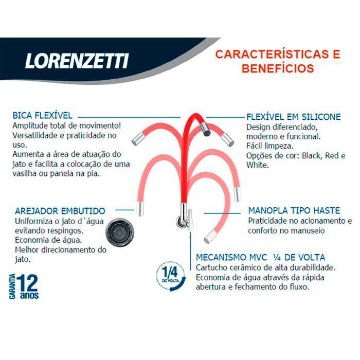Torneira de Parede Bica Flexível Lorenzetti Lorenflex White 1178 W27