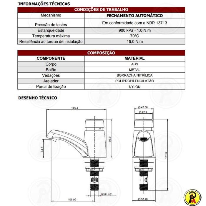 Torneira Fechamento Automático Fortti Eco 1179 F79
