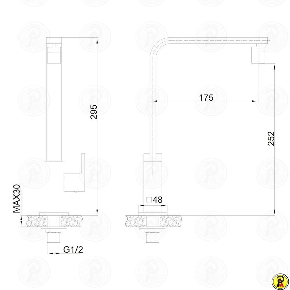 Torneira para Cozinha Bica Móvel de Mesa Jiwi WJ-2631-265A