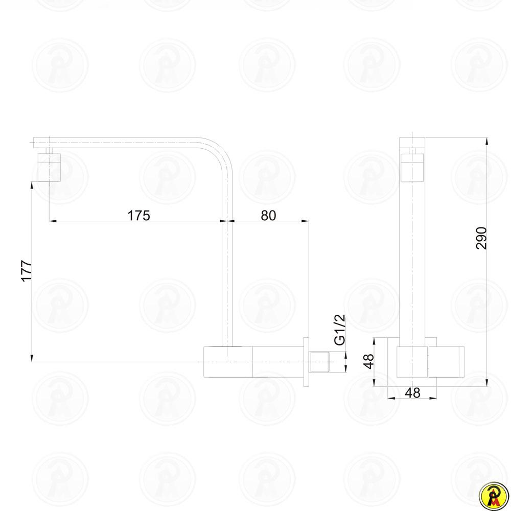 Torneira para Cozinha Bica Móvel de Parede Jiwi WJ-2632-265A